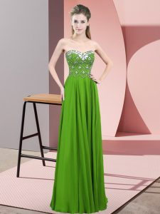 Green Sleeveless Beading Floor Length Prom Evening Gown
