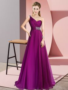 Chiffon One Shoulder Sleeveless Brush Train Criss Cross Beading Dress for Prom in Fuchsia