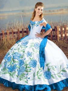 Fancy Blue And White Ball Gowns Satin Off The Shoulder Sleeveless Embroidery Floor Length Lace Up Quince Ball Gowns