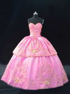 Floor Length Lace Up Sweet 16 Quinceanera Dress Rose Pink for Sweet 16 and Quinceanera with Embroidery