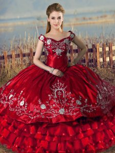 High Class Red Lace Up Off The Shoulder Embroidery and Ruffled Layers Sweet 16 Dress Satin Sleeveless