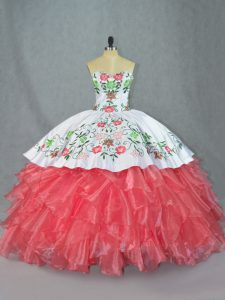 Watermelon Red Lace Up Quinceanera Gown Embroidery and Ruffles Sleeveless