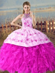 Fashionable Fuchsia Organza Lace Up Halter Top Sleeveless Quinceanera Dress Court Train Embroidery and Ruffles