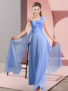 Blue Sleeveless Chiffon Lace Up Bridesmaid Gown for Wedding Party