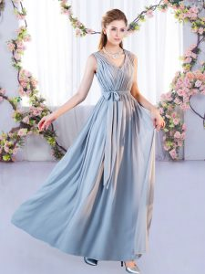 New Arrival Grey Empire Chiffon V-neck Sleeveless Belt Floor Length Lace Up Quinceanera Dama Dress