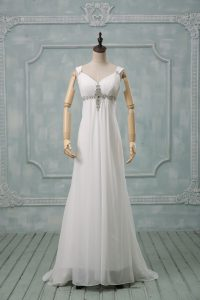 Trendy Straps Sleeveless Wedding Gowns Brush Train Beading White Chiffon