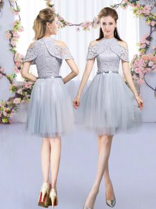Comfortable Tulle High-neck Sleeveless Zipper Lace and Belt Court Dresses for Sweet 16 in Grey