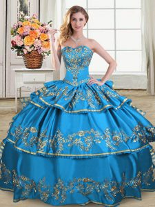 Elegant Sleeveless Floor Length Embroidery and Ruffled Layers Lace Up Quinceanera Dress with Blue