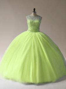 Popular Yellow Green Tulle Lace Up Scoop Sleeveless Floor Length Sweet 16 Quinceanera Dress Beading