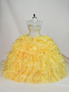 Latest Gold Organza Lace Up Sweetheart Sleeveless Floor Length Sweet 16 Dresses Beading and Ruffles