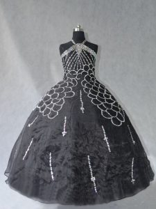 Floor Length Lace Up Ball Gown Prom Dress Black for Sweet 16 and Quinceanera with Beading