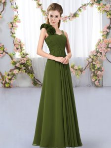 Olive Green Sleeveless Chiffon Lace Up Bridesmaid Dress for Wedding Party