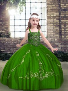 Excellent Green Ball Gowns Straps Long Sleeves Tulle Floor Length Lace Up Beading Winning Pageant Gowns