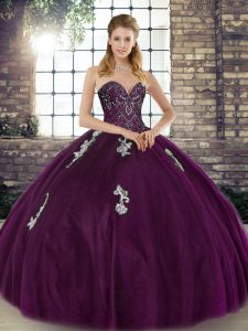 Graceful Dark Purple Lace Up Sweetheart Beading and Appliques Sweet 16 Quinceanera Dress Tulle Sleeveless