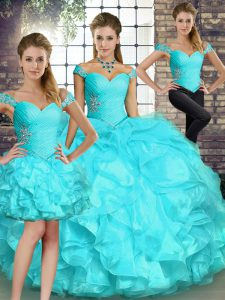 High Class Aqua Blue Three Pieces Beading and Ruffles Vestidos de Quinceanera Lace Up Organza Sleeveless Floor Length