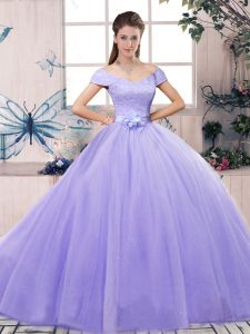 Exquisite Lavender Lace Up Quinceanera Gowns Lace and Hand Made Flower Short Sleeves Floor Length