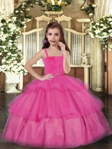 Custom Made Hot Pink Lace Up Straps Ruffled Layers Pageant Dress Toddler Tulle Sleeveless