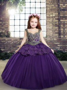 Latest Ball Gowns Glitz Pageant Dress Purple Straps Tulle Sleeveless Floor Length Lace Up