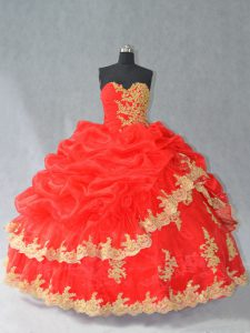 Fancy Red Ball Gowns Organza Sweetheart Sleeveless Lace and Appliques and Pick Ups Floor Length Lace Up 15th Birthday Dress