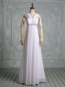 Customized White Chiffon Zipper Celebrity Dresses Sleeveless Floor Length Beading and Ruching