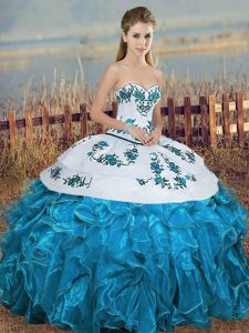 Fitting Blue And White Organza Lace Up 15 Quinceanera Dress Sleeveless Floor Length Embroidery and Ruffles and Bowknot
