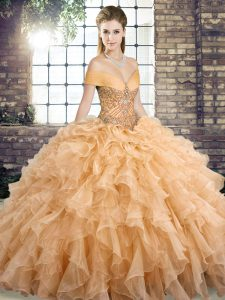 Gold Quinceanera Dress Military Ball and Sweet 16 and Quinceanera with Beading and Ruffles Off The Shoulder Sleeveless Brush Train Lace Up