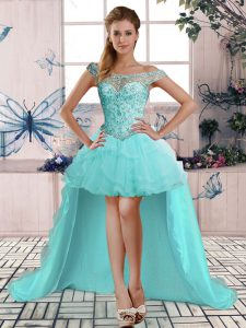 A-line Evening Dress Aqua Blue Off The Shoulder Tulle Sleeveless High Low Lace Up