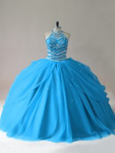 Baby Blue Ball Gowns Halter Top Sleeveless Tulle Floor Length Lace Up Beading Sweet 16 Dress