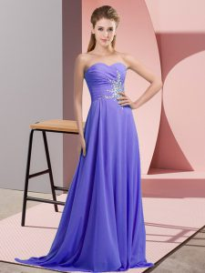 Best Lavender Lace Up Halter Top Beading and Ruching Prom Dress Chiffon Sleeveless