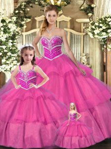 Sleeveless Beading Lace Up Quinceanera Dresses