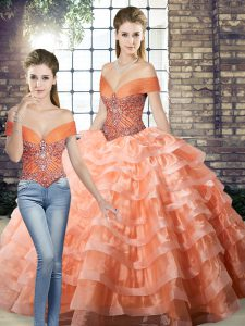 On Sale Off The Shoulder Sleeveless Brush Train Lace Up Sweet 16 Quinceanera Dress Peach Organza