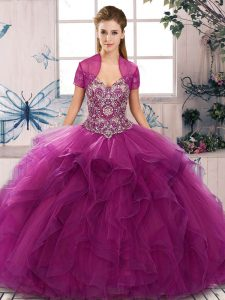 Fuchsia Quince Ball Gowns Military Ball and Sweet 16 and Quinceanera with Beading and Ruffles Off The Shoulder Sleeveless Lace Up