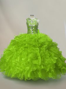 Exceptional Green Sleeveless Organza Lace Up Sweet 16 Quinceanera Dress for Sweet 16 and Quinceanera