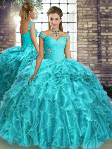 Clearance Aqua Blue Ball Gowns Organza Off The Shoulder Sleeveless Beading and Ruffles Lace Up 15 Quinceanera Dress Brush Train