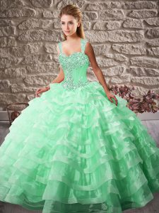 Best Selling Apple Green Sleeveless Beading and Ruffled Layers Lace Up Quinceanera Dresses