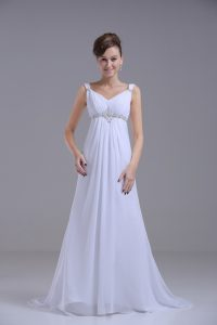 Captivating White Lace Up Wedding Dress Beading Sleeveless Brush Train