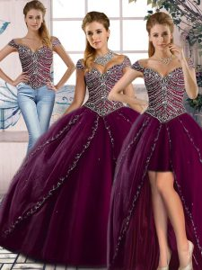 Superior Sweetheart Cap Sleeves Brush Train Lace Up Sweet 16 Quinceanera Dress Purple Tulle