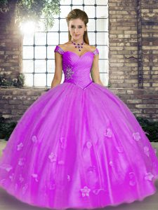 Ball Gowns Quinceanera Dresses Lavender Off The Shoulder Tulle Sleeveless Floor Length Lace Up
