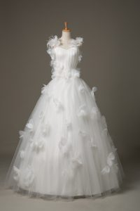 Gorgeous Tulle Sleeveless Floor Length Bridal Gown and Hand Made Flower