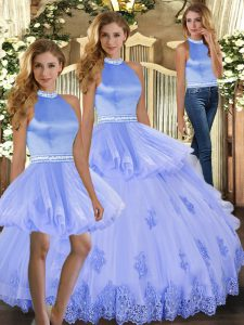 Lavender Vestidos de Quinceanera Sweet 16 and Quinceanera with Beading and Appliques Halter Top Sleeveless Backless