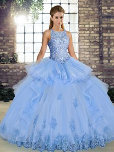 Lavender Scoop Lace Up Lace and Embroidery and Ruffles Quince Ball Gowns Sleeveless