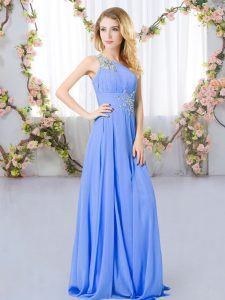 Wonderful Floor Length Lavender Quinceanera Dama Dress One Shoulder Sleeveless Zipper