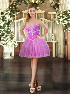 Sleeveless Lace Up Mini Length Beading and Appliques Evening Dress