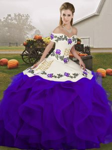 Latest Floor Length Ball Gowns Sleeveless White And Purple Vestidos de Quinceanera Lace Up