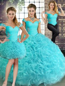Custom Made Aqua Blue Lace Up Off The Shoulder Beading Sweet 16 Quinceanera Dress Fabric With Rolling Flowers Sleeveless