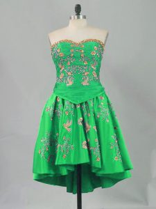 Mini Length Green Prom Party Dress Sleeveless Embroidery