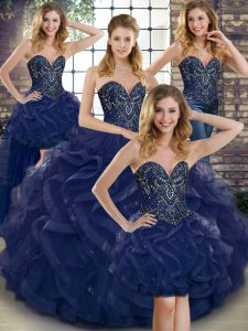 Navy Blue Lace Up Sweetheart Beading and Ruffles Sweet 16 Dresses Tulle Sleeveless