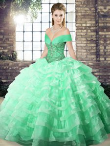 Romantic Apple Green Sleeveless Brush Train Beading and Ruffled Layers Quince Ball Gowns