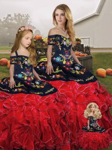Flirting Red And Black Ball Gowns Embroidery and Ruffles Vestidos de Quinceanera Lace Up Organza Sleeveless Floor Length