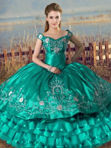 Fashion Turquoise Satin Lace Up Sweet 16 Dress Sleeveless Floor Length Embroidery and Ruffled Layers
